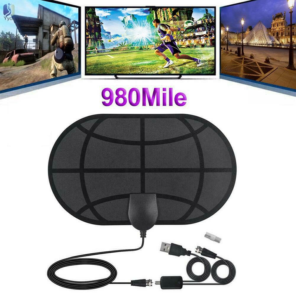 YY高清電視天線迷你高清數字電視天線DVB-T2 980英里4K 1080P數字高清電視室內電視天線,帶放大器信號增強器