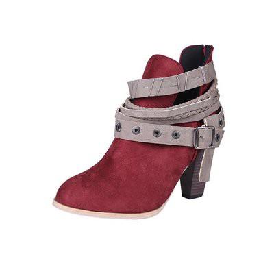 <阿B時尚潮流精品>/鞋子/靴子/短靴/新款歐風百搭個性潮流粗跟尖頭高跟卯釘釦磨砂面短靴 馬汀靴 裸靴