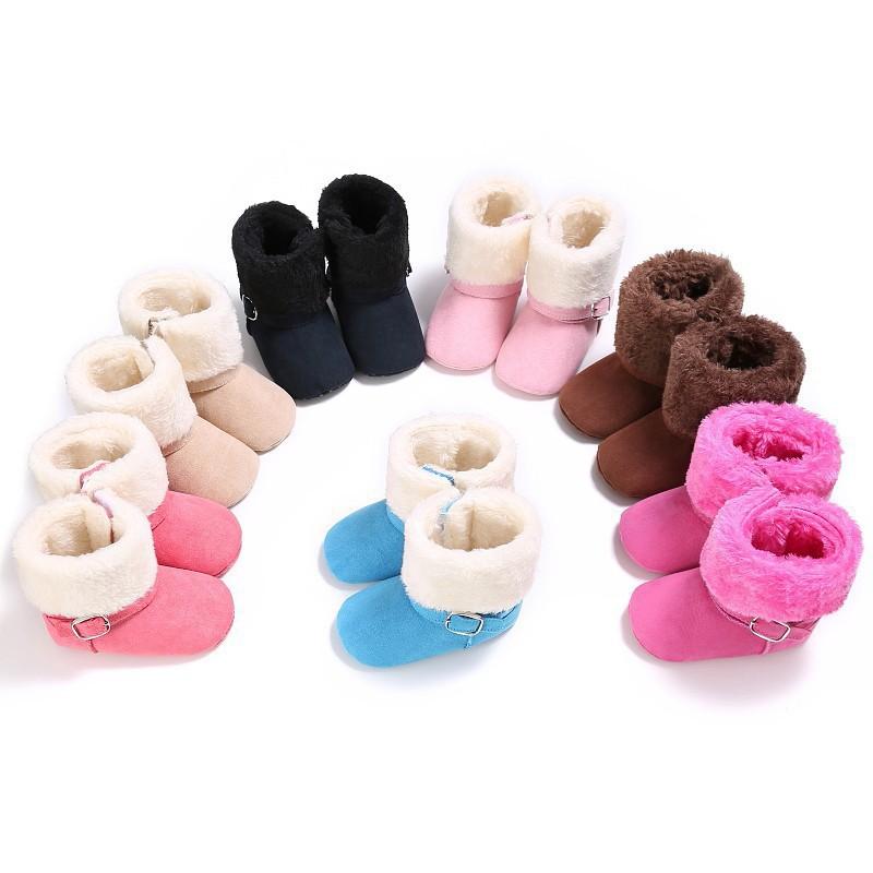 可愛的孩子寶貝女孩冬季雪地靴溫暖的嬰兒靴子鞋子【IU貝嬰屋】