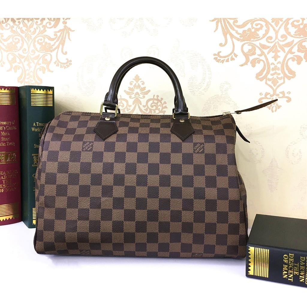 二手旗艦 LV N41531 N41364 格紋 棋盤格 Speedy 30公分 波士頓手提包 (公益店)04801