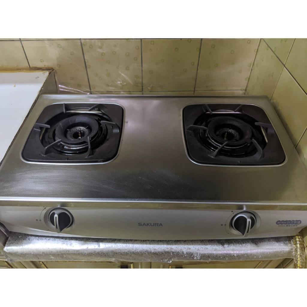 SAKURA 櫻花 G5900(G5900S)二口雙炫火珍珠壓紋爐 瓦斯爐 二手