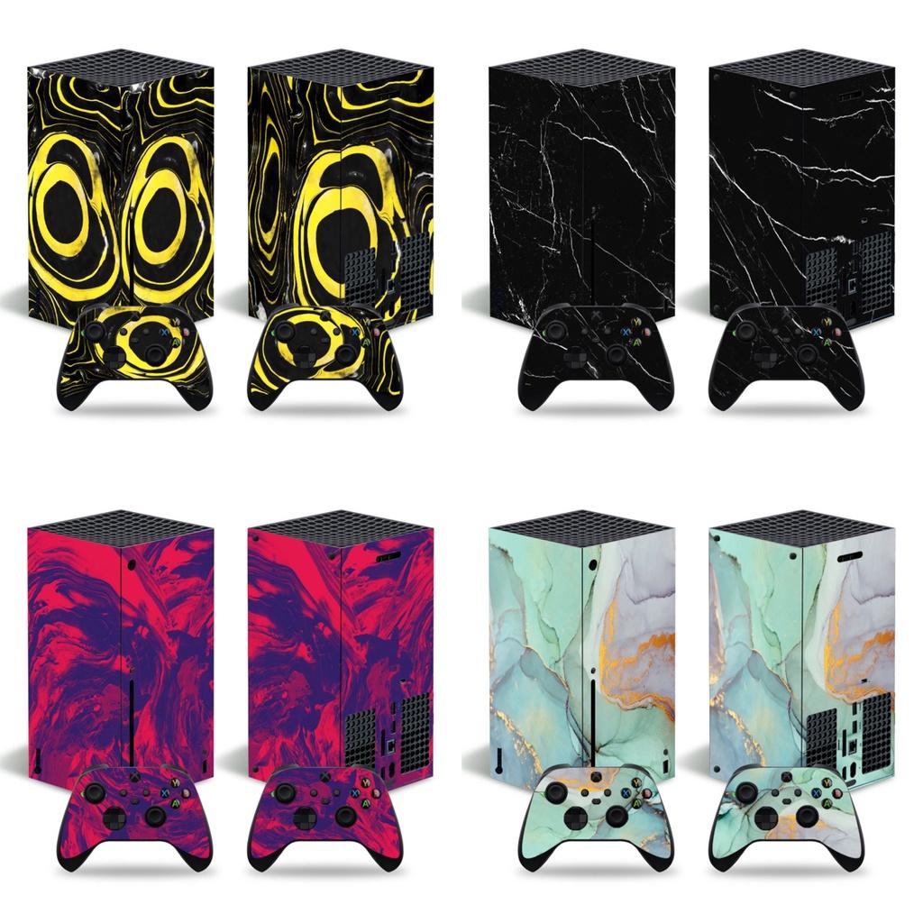 微軟XBOX series X主機貼膜XBOX series X主機貼紙大理石款式貼紙可來圖定製