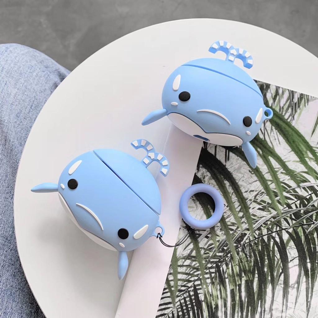 藍色小鯨魚Airpods保護套無線耳機硅膠軟殼便攜2代適用防摔