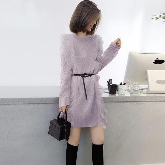韓版寬鬆打底毛衣裙 中長款加厚針織洋裝