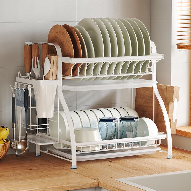 熱賣中廚房置物架碗筷瀝水架台面收納盒家用晾碗架放碟盤放調料用品大全