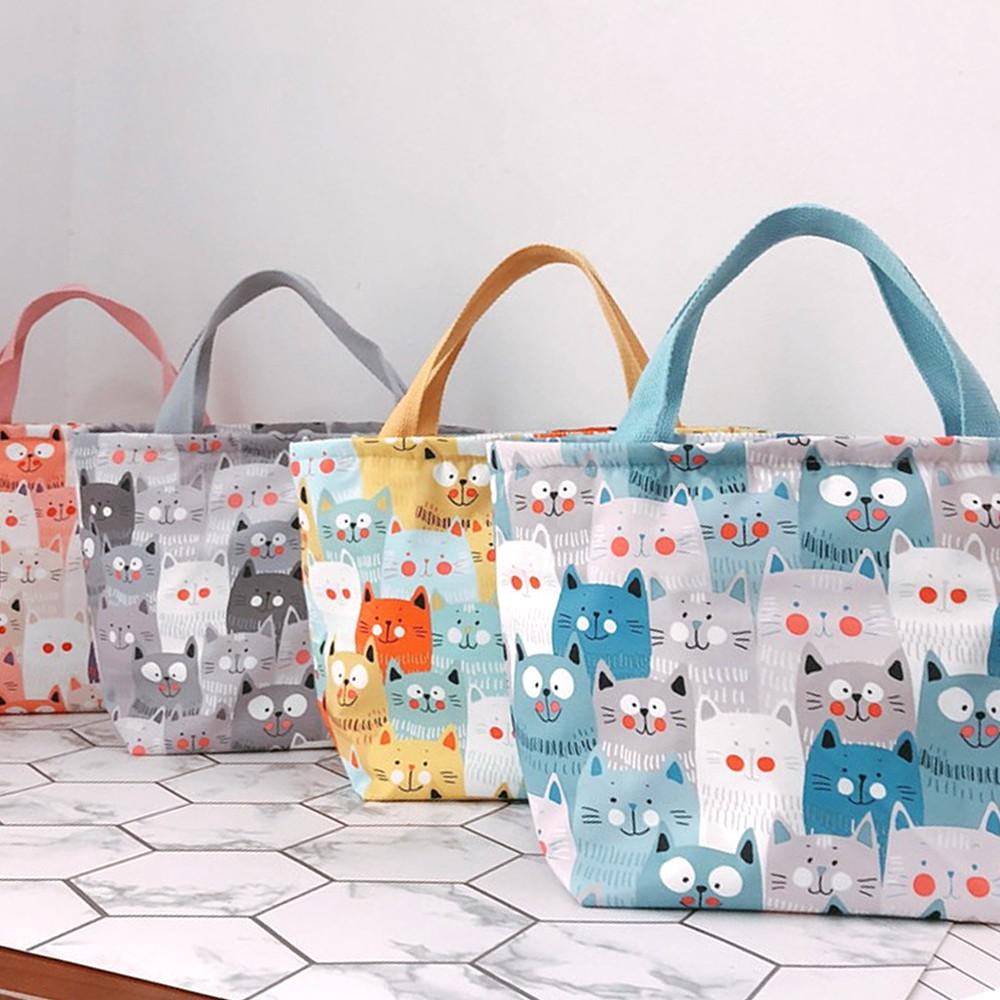 【STAR BABY】日系滿版貓咪多用途 保溫 防水小手提包/便當袋/午餐提包(4色)