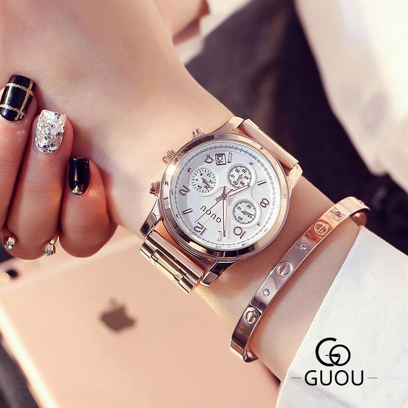 Guou 8175 鋼帶手錶三眼多功能大錶盤金屬日曆石英鋼帶手錶禮物