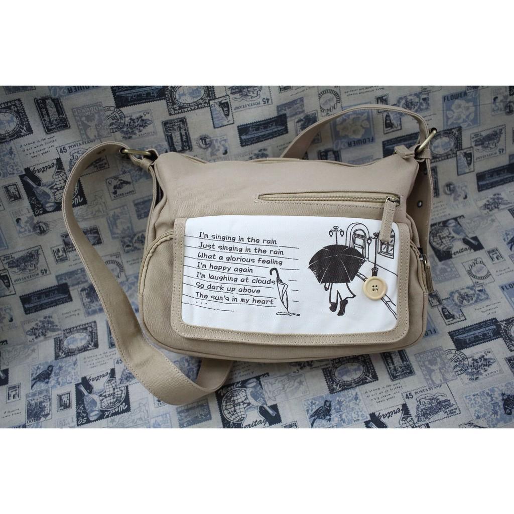[蛋可可小舖]花間公主-那首歌郵差帆布包-雨傘/樹葉款側背包/單肩包/小方包/斜背包/郵差包