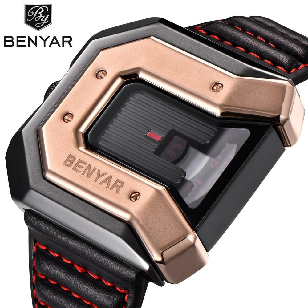 BENYAR男士奢侈品牌大錶盤方形石英手錶