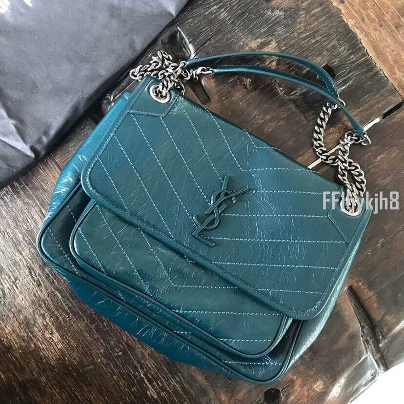 二手奢侈品女士包袋 YSL圣羅蘭NIKI藍色油蠟皮中號鏈條單肩斜挎包