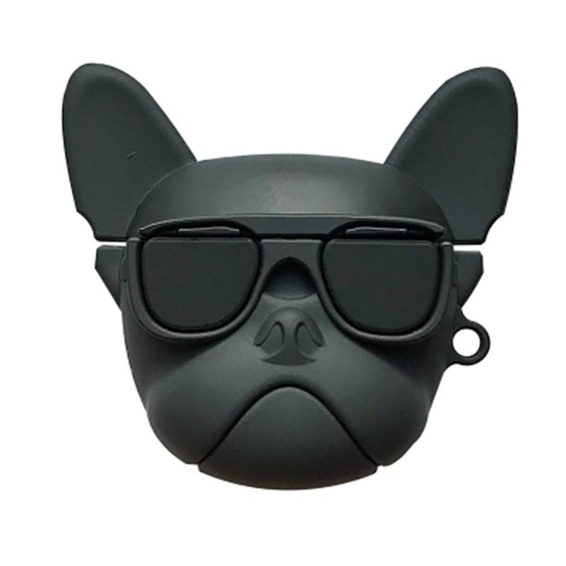 法斗牛犬保護套 適用蘋果 AirpodsPro 無線藍牙耳機/三代耳機保護套 矽膠防護 狗頭 造型Airpods