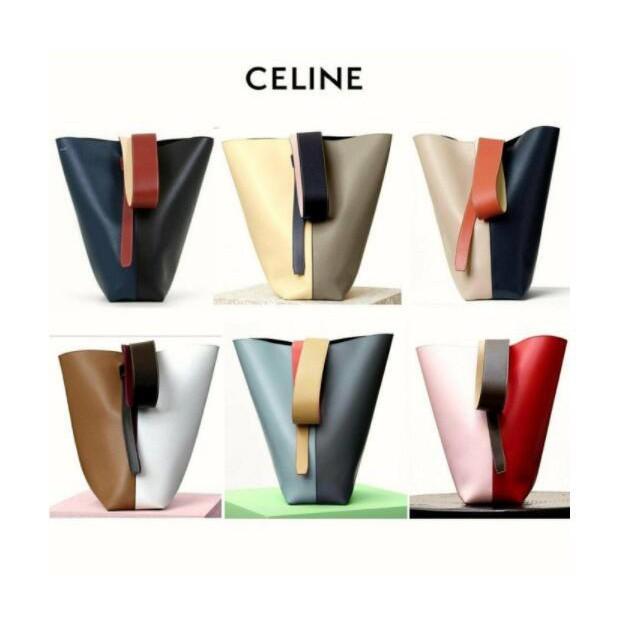 全新真品  CELINE Twisted Cabas 拼色 撞色 真皮手提包 托特包 肩背包 100%全新真品