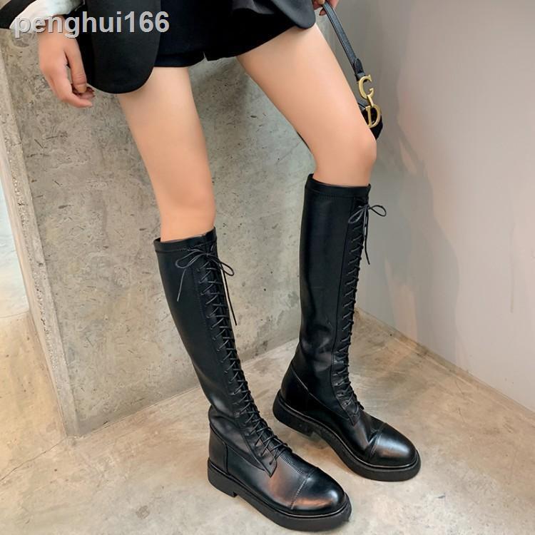 ✑□⊕長靴女不過膝2020新款秋冬粗跟騎士靴彈力高筒靴小個子長筒靴子女