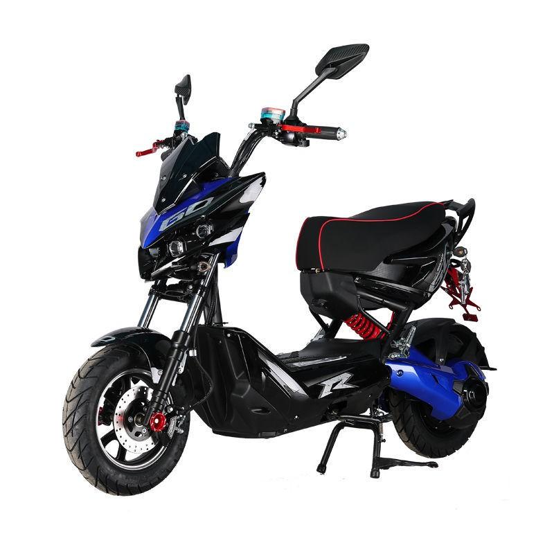 機車 鬼火  川崎小忍者摩托車㍿✸新款極客戰狼改裝電動車電動摩托車60-72高速男女電動車可上牌