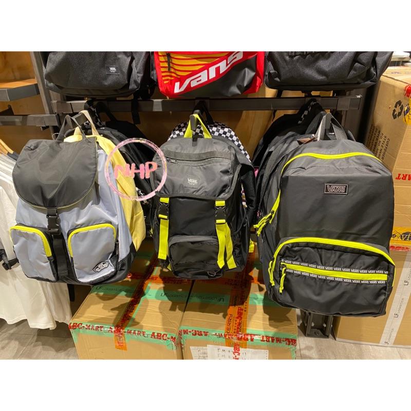 Vans 中性款 後背包 書包 多功能 黑色螢光黃 束口拉鍊 休閒運動
