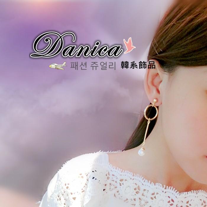 耳環 現貨 韓國氣質 甜美 摩登 極簡風 設計感 幾何 珍珠 吊飾 長耳環 K92073 批發價 Danica 韓系飾品