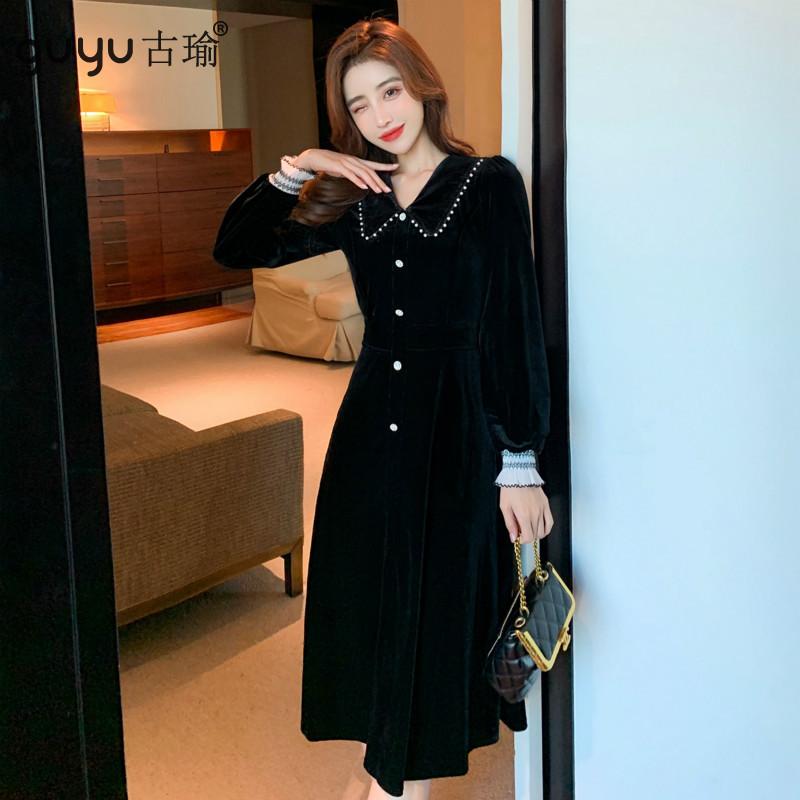 GUYU古瑜優雅甜美絲絨長洋裝秋冬黑色宴會禮服長裙