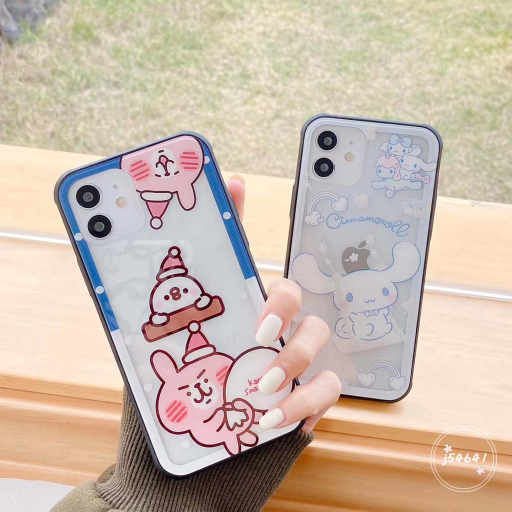 雪人卡娜赫拉 iPhone12 mini 11 Pro Max Xs XR i8 i7Plus手機殼 鏤空玻璃殼