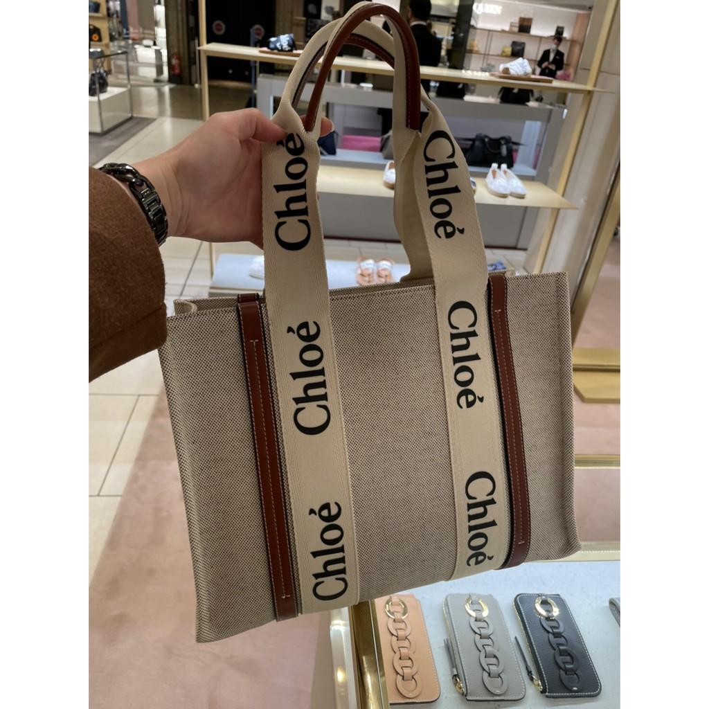 春夏全新正品 預購 Chloe Mini Woody tote mini 帆布托特包 深藍 焦糖色咖啡色