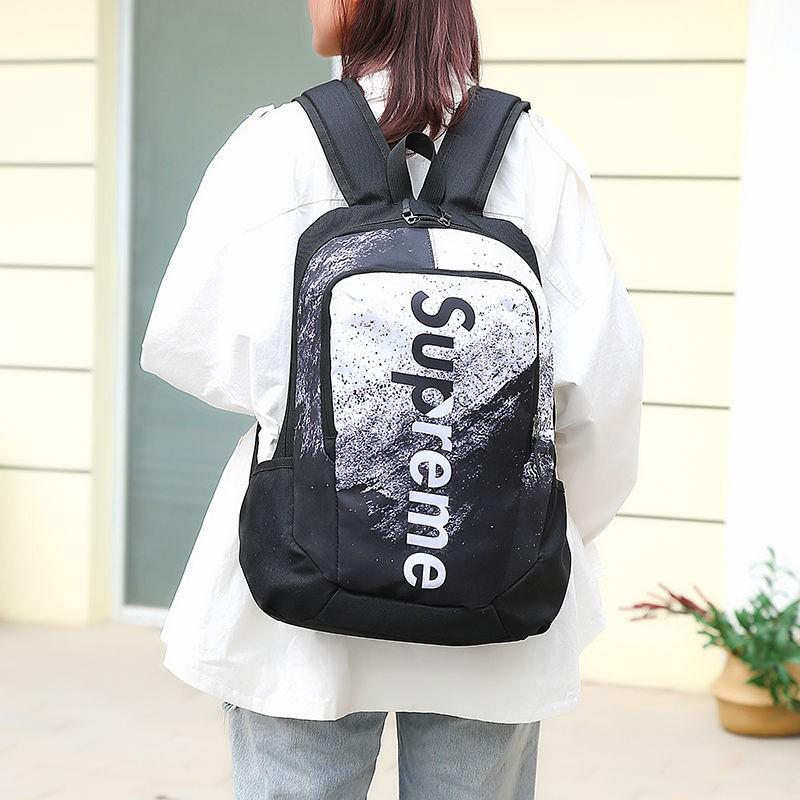 【小鴨子】Supreme後背包男女Supreme書包學生韓版大容量塗鴉雙肩包男原宿百搭校園背包