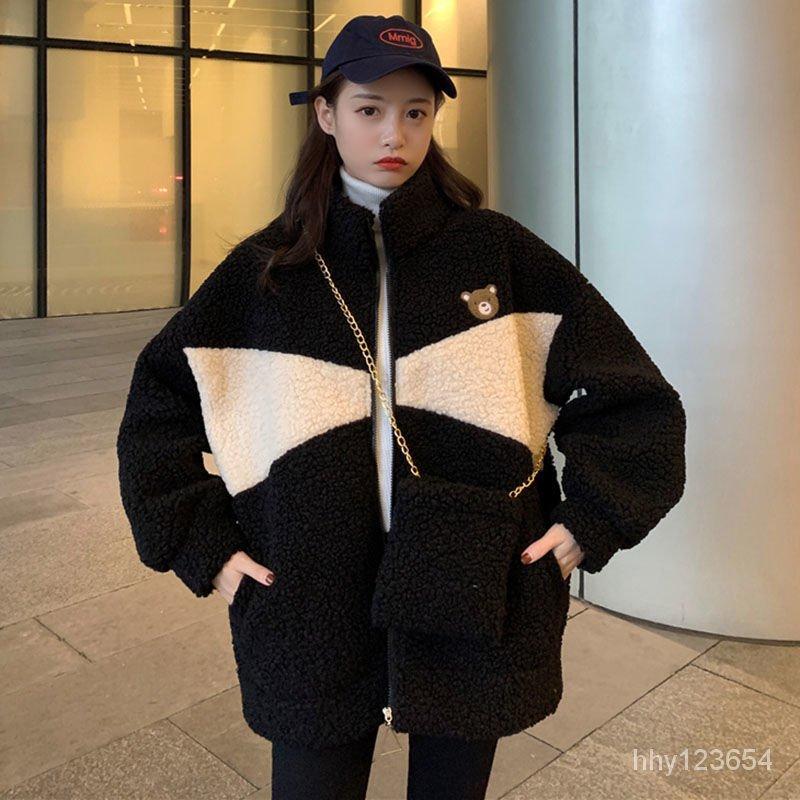 棉服撞色可愛加厚新款女開衫大碼寬鬆羊羔絨秋冬外套潮加絨百搭