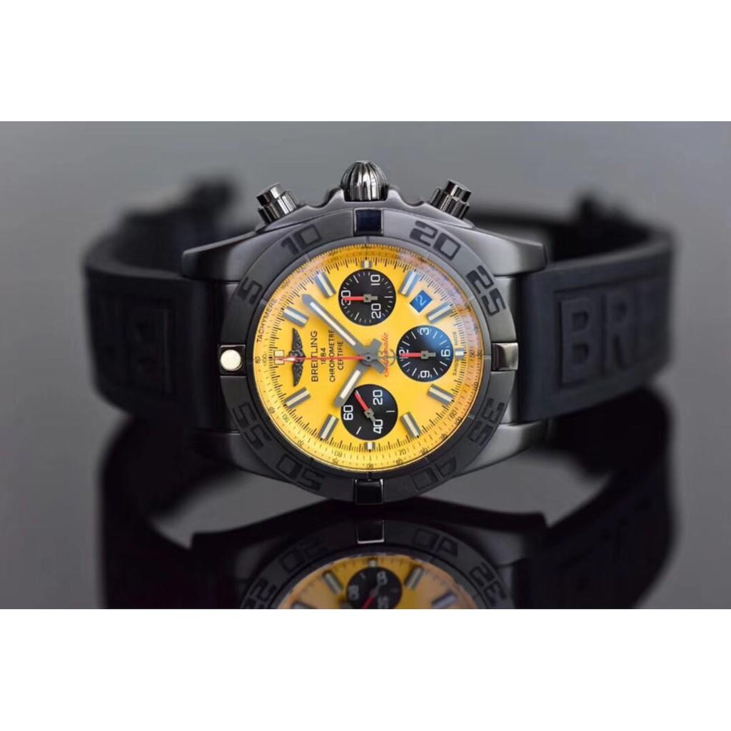 Breitling   百年靈   航空計時系列    機械計時44mm  黑鋼腕表   黃盤