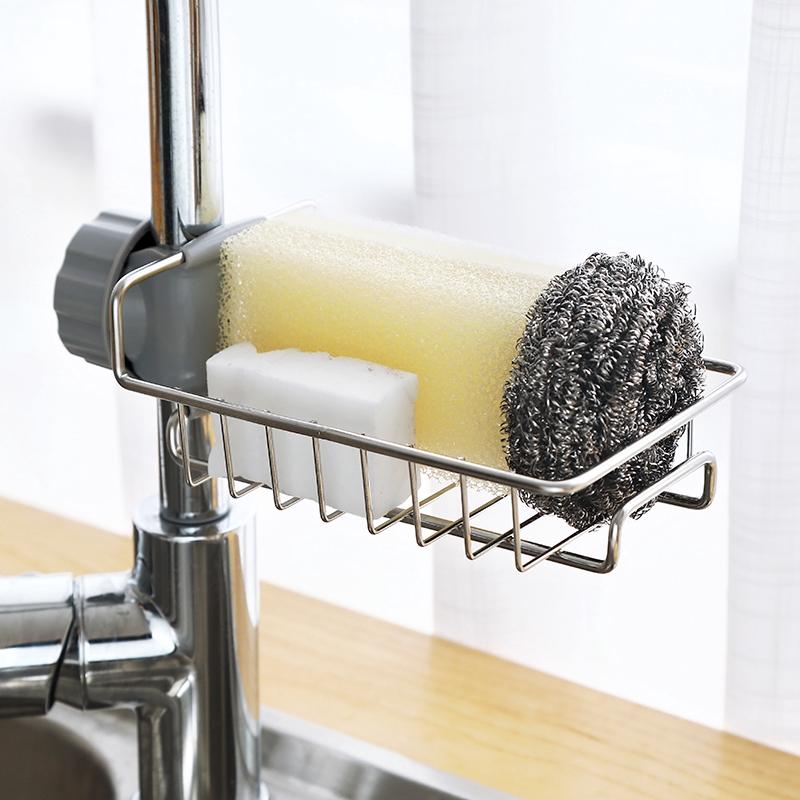 廚房瀝水籃 ✿ 熱銷 ✿ 不銹鋼 廚房水龍頭夾式 置物架 水槽 水池 洗碗布 瀝水籃 收納抹布掛架