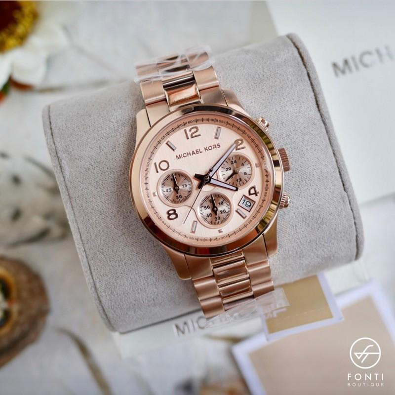 原廠Michael Kors 玫瑰金 金 銀 鋼帶 MK5128 三眼計時 MK手錶 手錶