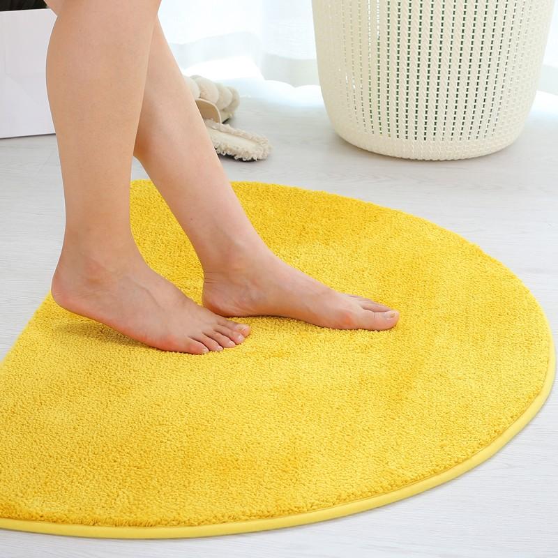 半圓金黃色入戶地墊ins臥室門口防滑腳墊裝飾房間地毯墊子浴室*