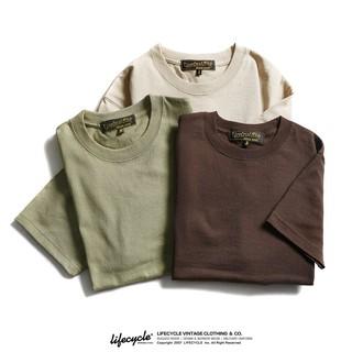 LifeCycle阿美咔嘰超重磅純棉雙紗無縫T恤男純色復古泥染色系短袖 XNlt