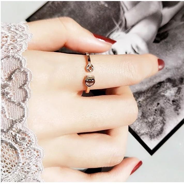 招財貓戒指女開口簡約個性轉運旺財指環戒指鈦鋼玫瑰金不過敏不掉色食指戒 時尚小指尾戒 潮人指環個性尾戒鈦鋼飾品
