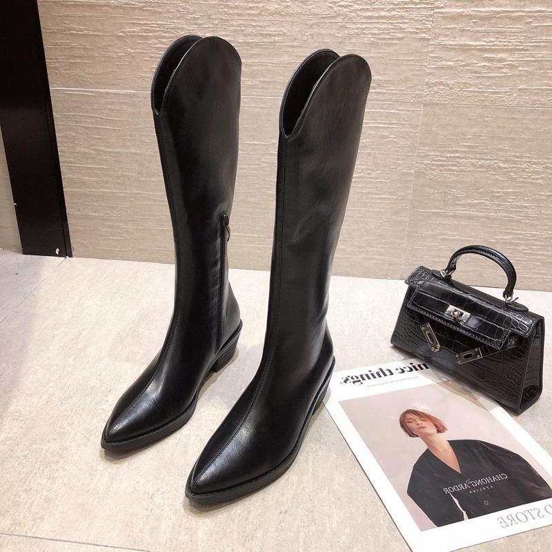韓妞必備 女生長筒靴2020秋冬新款英倫尖頭高筒靴粗跟長筒靴女側拉鏈騎士靴高跟瘦瘦靴