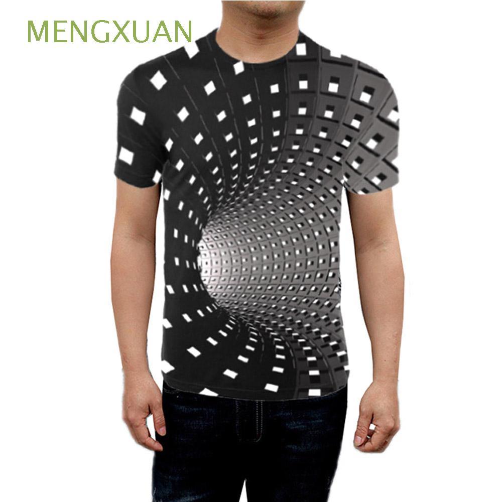 MENGXUAN 列印有趣的三維催眠短袖圓領隨意的T恤衫3DT恤