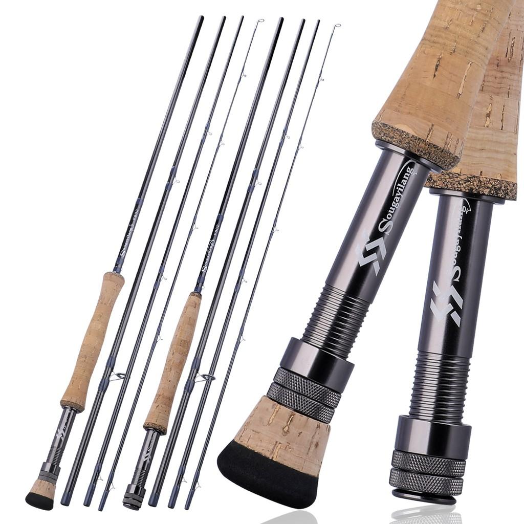 Sougayilang 漁具 4節飛蠅竿 新款飛蠅竿飛釣魚竿 戶外便攜式漁具 超輕 飛蠅竿 漁具 戶外 釣魚