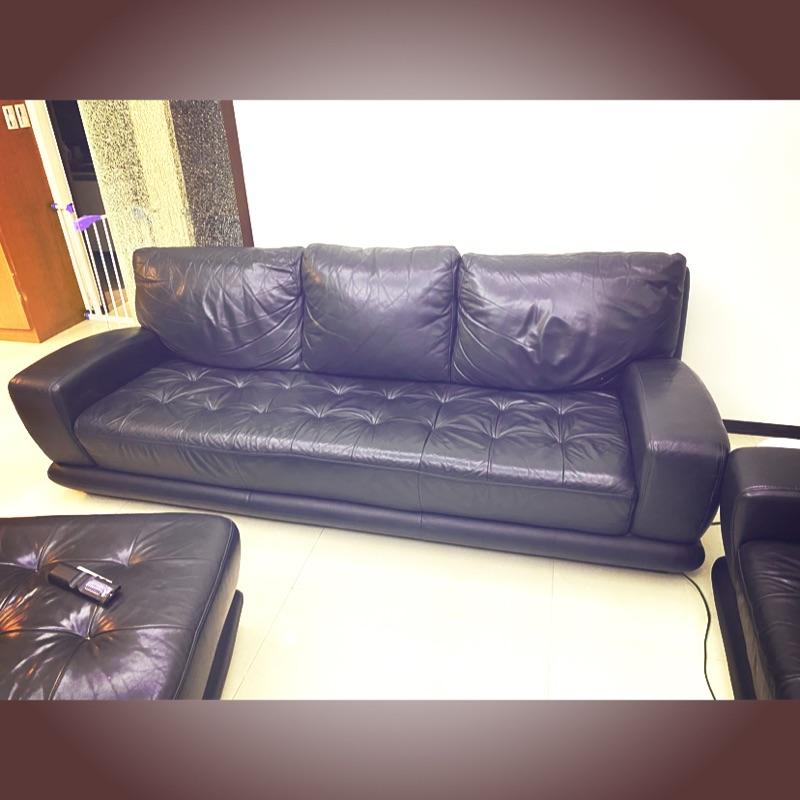 二手 羅蘭索 黑色全牛皮三人座沙發