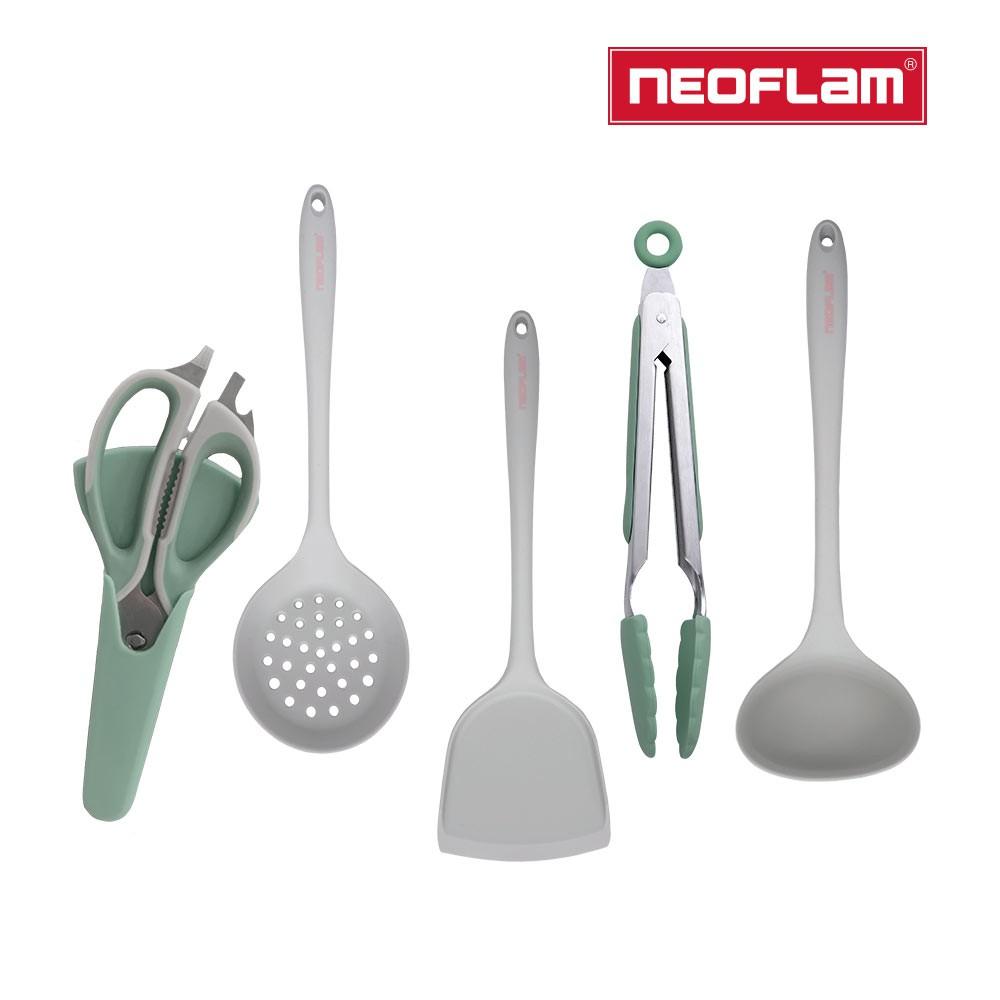 Neoflam 廚房配件5件組-2色任選(鍋鏟/湯勺/漏勺/料理夾/料理剪刀)
