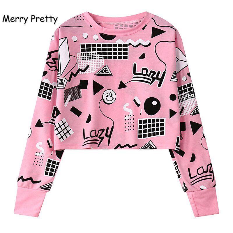 原宿女裝印花短款運動衫長袖幾何印花連帽衫嘻哈粉紅色上衣外套寬鬆