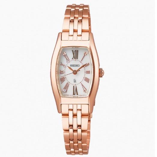 【SEIKO 精工】LUKIA 酒桶型真鑽太陽能時尚腕錶-玫瑰金19.8mm V117-0EE0P(SUP440J1)