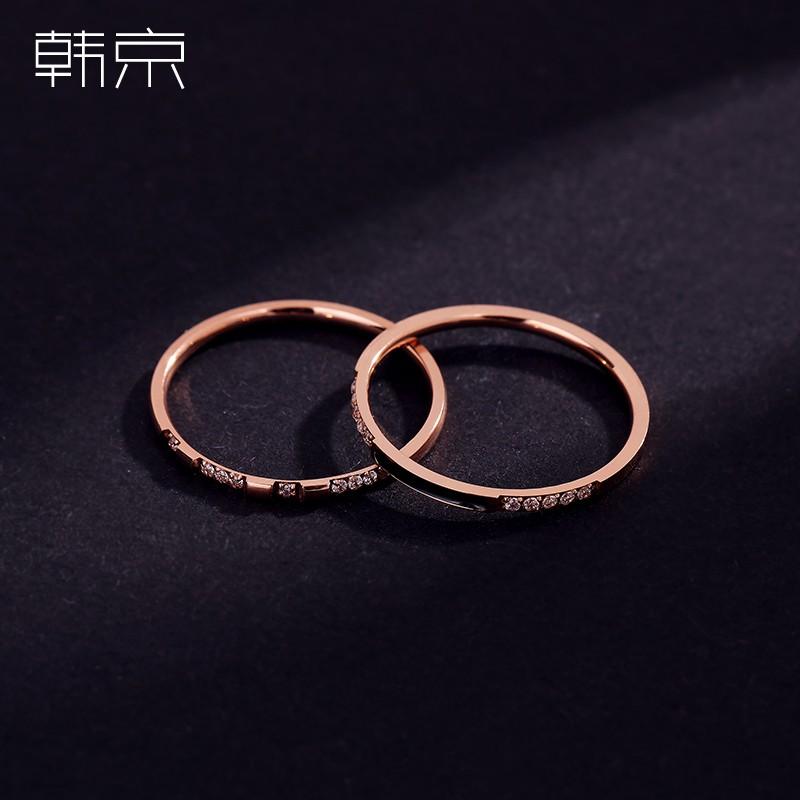 新品*韓京鈦鋼鍍玫瑰金超細戒指女韓版二合一組合指環冷淡風食指尾戒