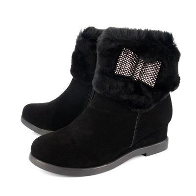 【創意者鞋坊】短靴 超甜心鑽飾暖毛短靴-黑色/ 女-原價5280元