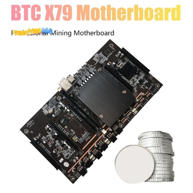 X79 H61 BTC礦機主板LGA 2011 DDR3支持32G 60mm間距支持RTX3060 BTC礦機顯卡