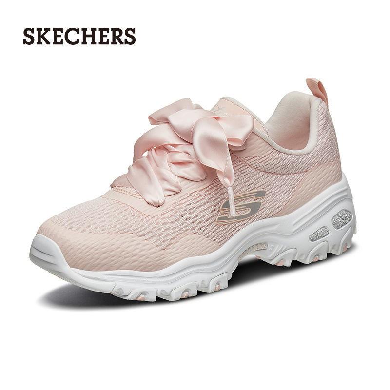 Skechers斯凱奇女鞋春夏透氣休閑熊貓鞋健步運動老爹鞋蝴蝶結綁帶