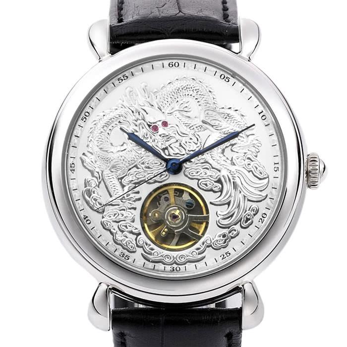 9C31B ⌚機械錶不銹鋼真皮錶帶機械表龍行天下經典紅寶手錶銀曼莉萊克 Manlike