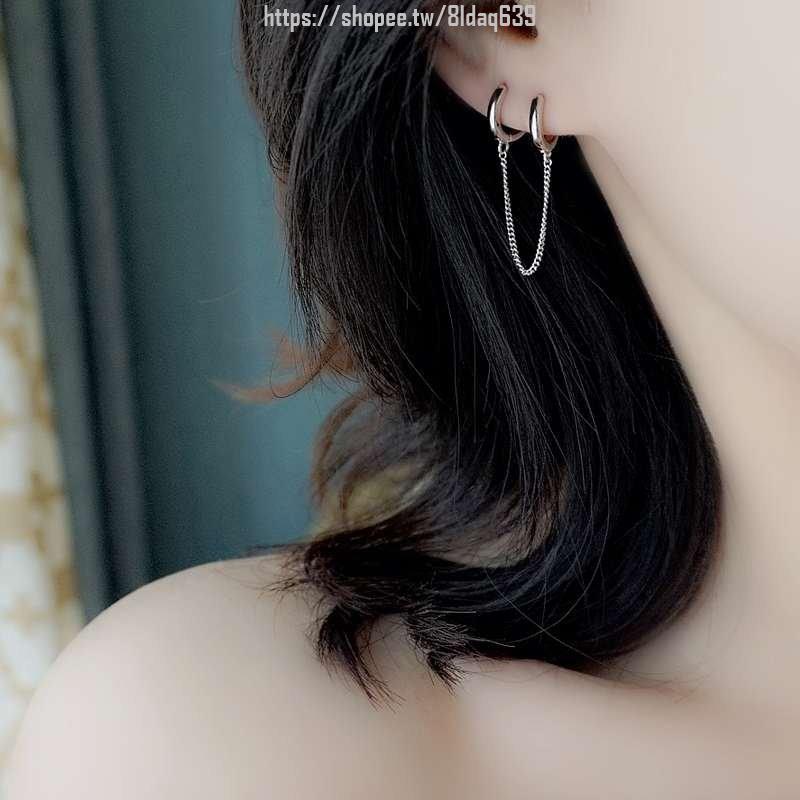 圓圈耳環圓環2020新款潮氣質純銀耳釘女耳夾式無耳洞耳飾簡約小巧*K11