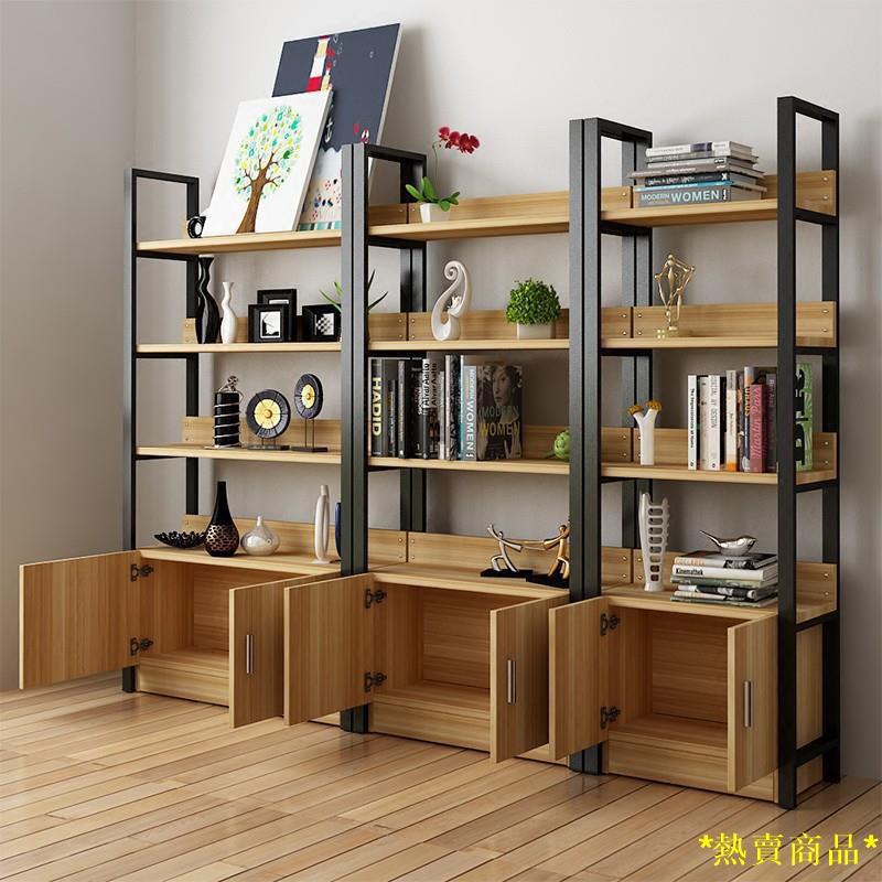 【店家推薦】現貨書架置物架簡易客廳隔板鋼木書架組合展示架書櫃