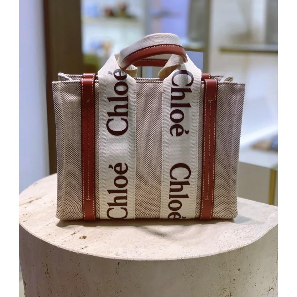 Chloe Medium Woody tote 中號 帆布托特包 燕麥色米白色 焦糖色咖啡色