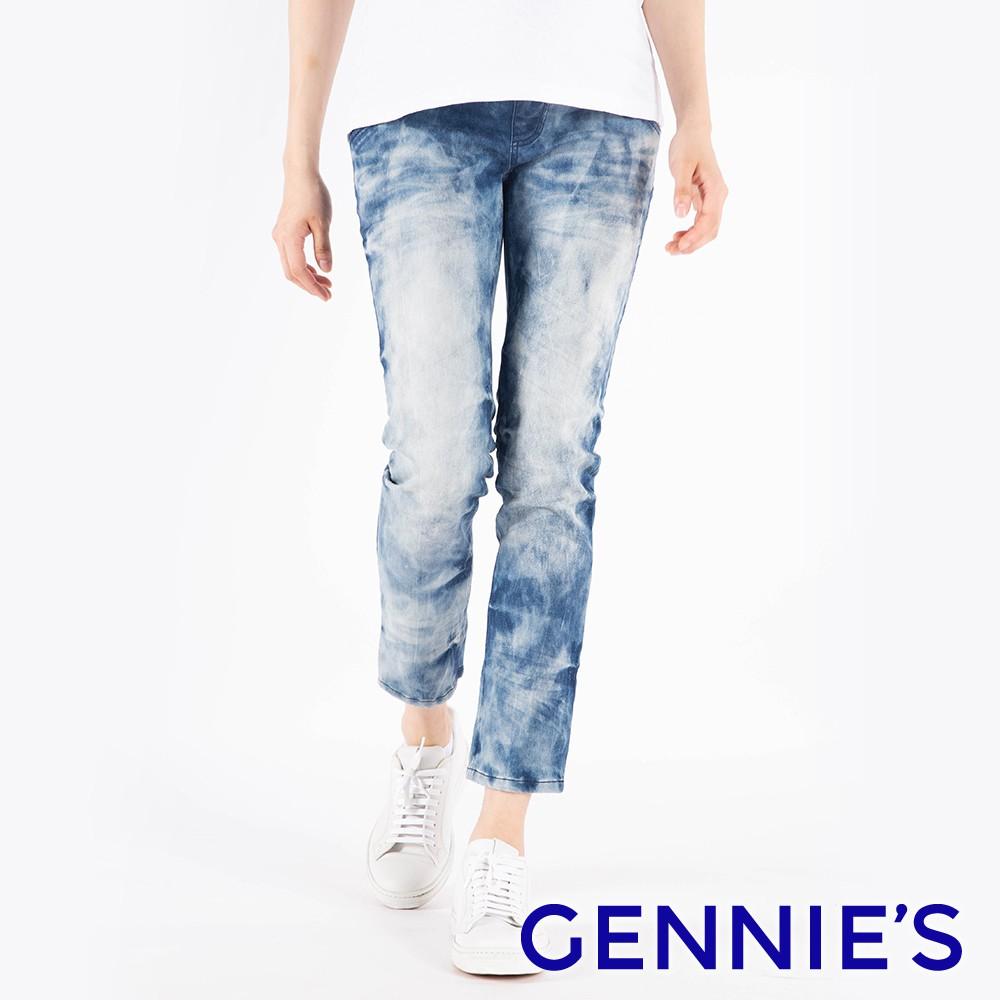 Gennies 奇妮-率性刷白抓破牛仔褲-藍(T4F68)