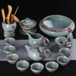 茶具 茶壺 茶具組 哥窯茶具套裝家用陶瓷功夫茶具冰裂釉開片可養茶壺茶杯套裝泡茶器 高雄市