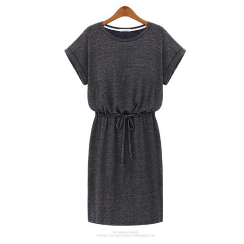Behind you-腰綁帶鬆緊素色短袖連身裙 周董的店