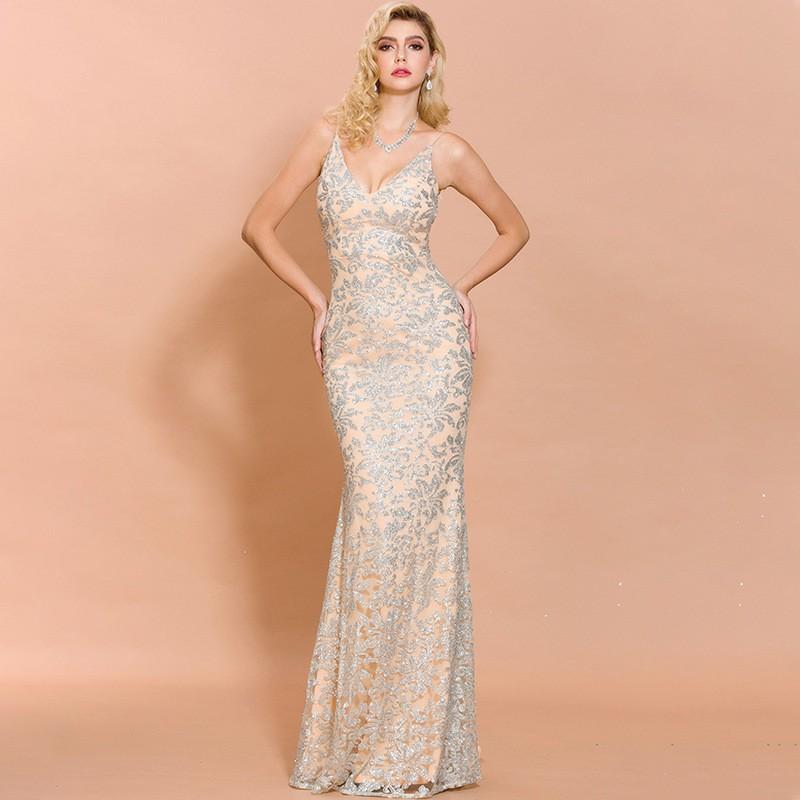 春裝2020歐美新款性感印花吊帶晚禮服女廠家直銷晚禮服 洋裝 長裙 尾牙禮服 高貴 優雅 長款 主持禮服裙